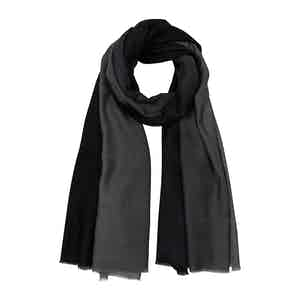 Two-tone Black and Grey Cashmere Scarf