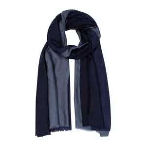 Two-tone Navy and Charcoal Cashmere Scarf
