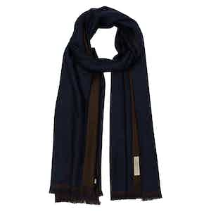 Double-Sided Chocolate and Navy Cashmere Scarf
