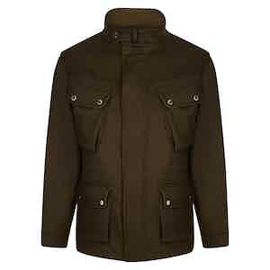 Brown Zip Front Wool Field Jacket