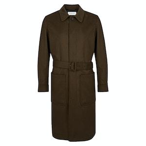Dark Brown Belted Patch Pocket Wool Overcoat
