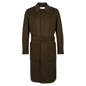 Dark Brown Belted Patch Pocket Wool Overcoat