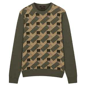 Brown And Green Pure Cashmere Crewneck Jumper