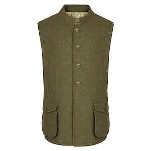 Moss Green Tweed Gilet