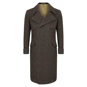 Tobacco Brown Herringbone Greatcoat