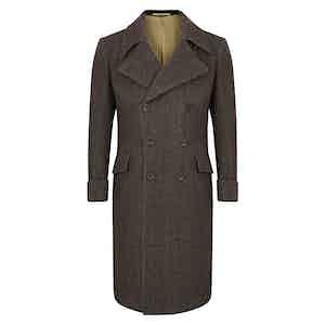 Tobacco Brown Herringbone Greatcoat
