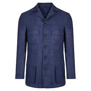 Denim Blue Linen Safari Jacket