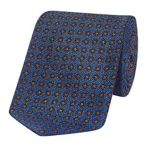 Navy Diamond Squares Silk Tie