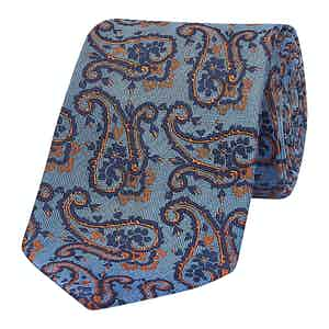 Blue Outline Paisley Silk Tie