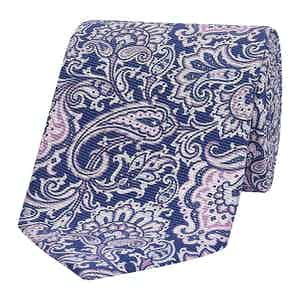 Blue & Pink Floral Paisley Silk Tie