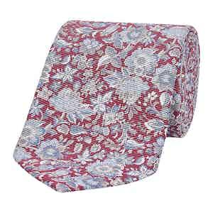 Red & Grey Art Floral Silk Tie