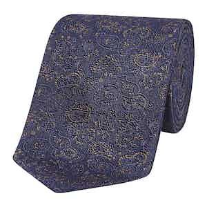 Midnight Blue Paisley Jacquard Silk Tie