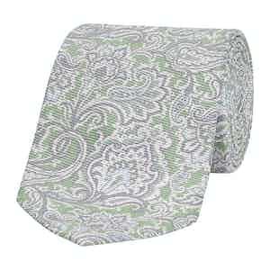 Light Green Floral Paisley Silk Tie