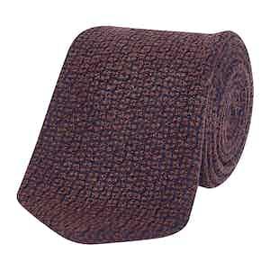 Burgundy & Navy Textured Silk Tie
