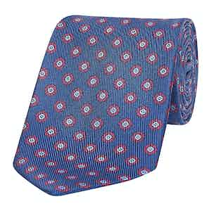 Blue & Red Spotted Floral Silk Tie