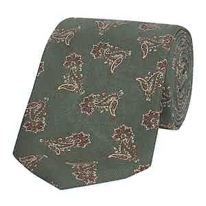 Green Paisley Jazz Silk Tie