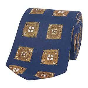Navy & Gold Medallion Tile Silk Tie