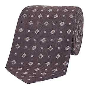 Brown Graph Dotted Silk Tie