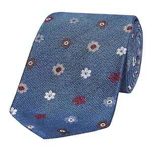 Blue & Multicoloured Floral Silk Tie