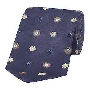Navy & Multicoloured Floral Silk Tie