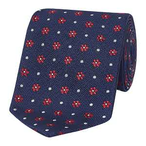 Navy & Red Dotted Floral Silk Tie