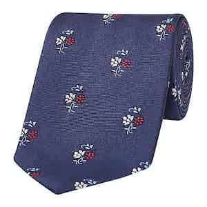 Navy & Red Bouquet Silk Tie