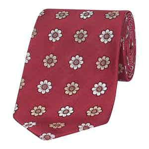 Red Exploded Floral Silk Tie