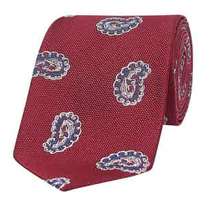 Red Exploded Paisley Silk Tie