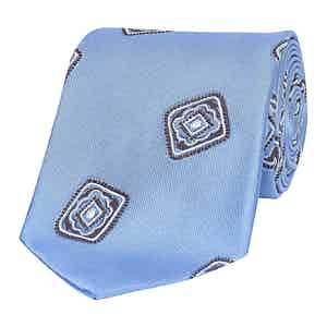 Sky Blue Floral Deco Silk Tie