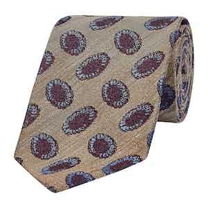Moss Green & Burgundy Oval Motif Silk Tie