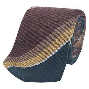 Brown, Gold & Green Repp Stripe Silk Tie