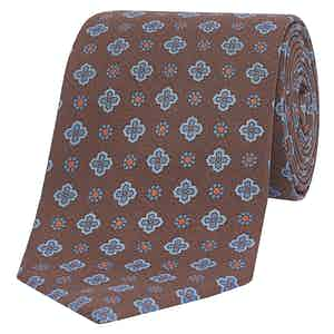 Light Brown & Sky Blue Floral Silk Tie
