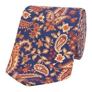 Navy & Orange Bright Paisley Silk Tie