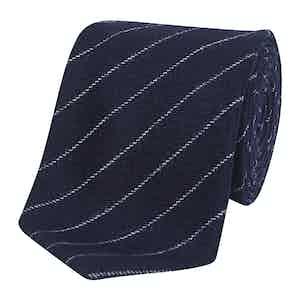 Navy & White Chalkstripe Silk Tie