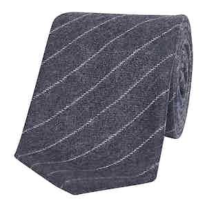 Charcoal Grey & White Chalkstripe Silk Tie
