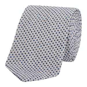 White & Navy Textured Silk Jacquard Tie