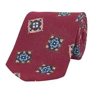 Burgundy Mosaic Tile Silk Tie