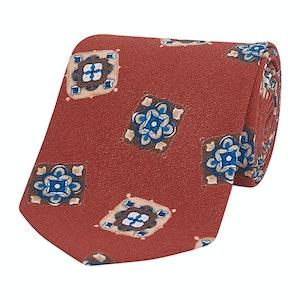 Orange Mosaic Tile Silk Tie