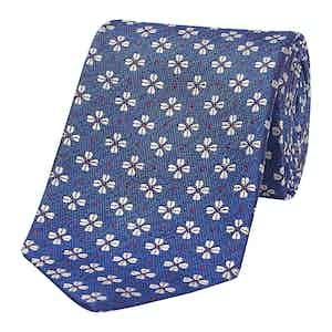 Blue Art Deco Floral Silk Tie