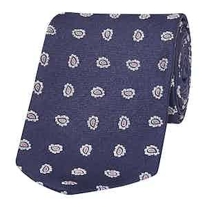 Navy Patterned Paisley Silk Tie