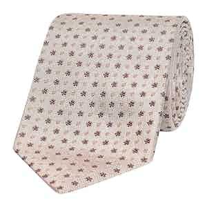 Cream & Soft Beige Textured Floral Silk Tie