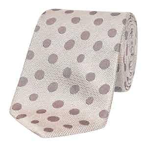 Cream & Soft Beige Polka Dot Silk Tie