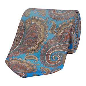Turquoise & Gold Vintage Paisley Silk Tie