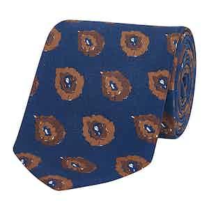 Navy & Burnt Orange Art Paisley Silk Tie