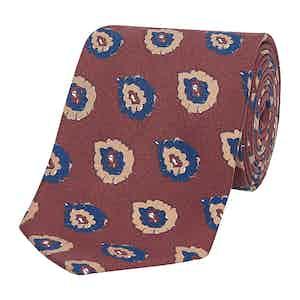 Burnt Orange & Navy Art Paisley Silk Tie