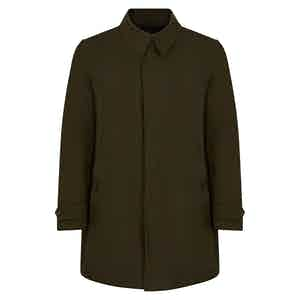 Military Green Naviglio Grande Single Breasted Raincoat