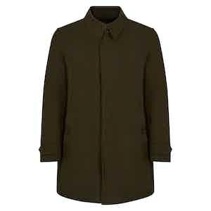 Military Green Naviglio Grande Single Breasted Raincoat