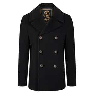 Black Amalfi Cashmere Blend Short Peacoat