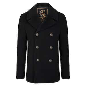 Black Amalfi Cashmere Blend Short Peacoat