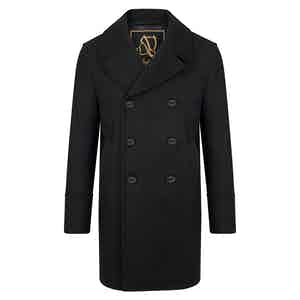 Black Genova Long Peacoat